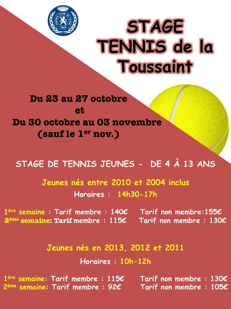 STAGES DE TENNIS DE LA TOUSSAINT!