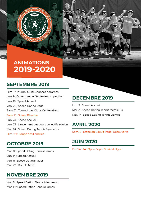 Planning des animations 2019 au Tennis Club de Lyon