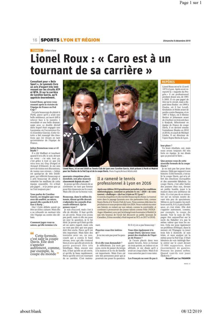 Le Progrès, lionel Roux et Caroline Garcia, 8 décembre 2019