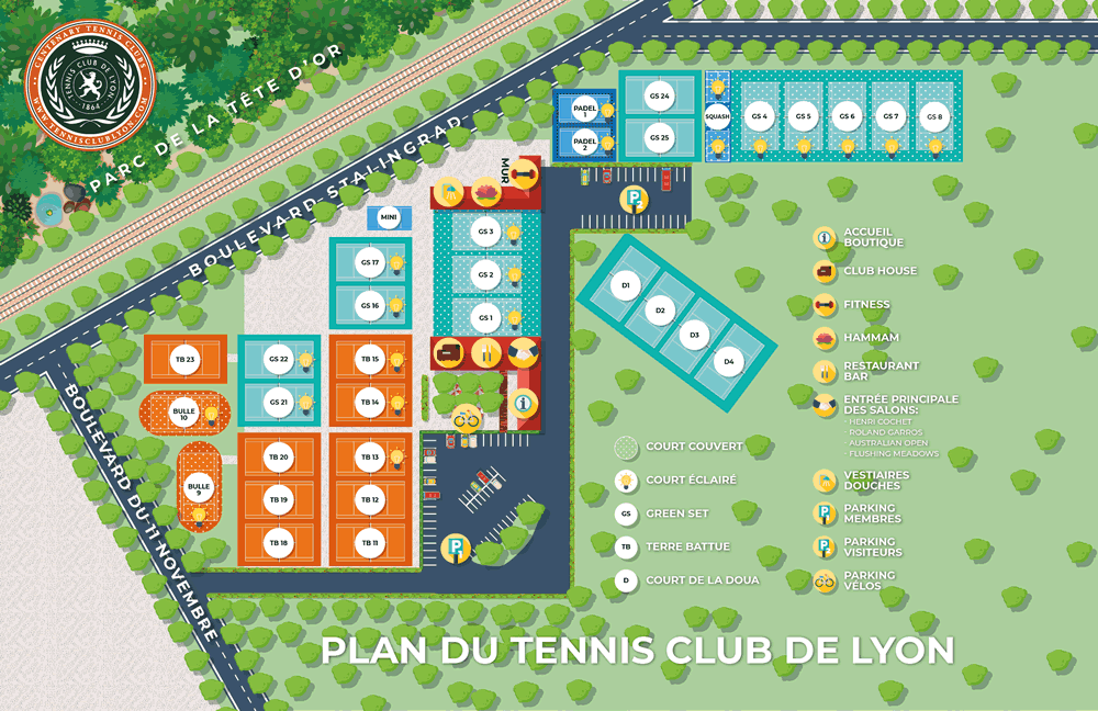 Plan du Tennis Club de Lyon