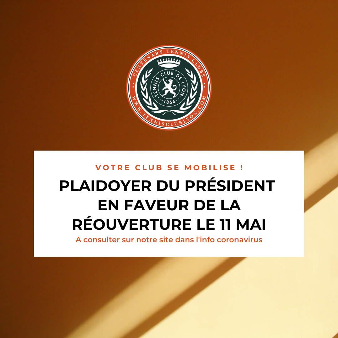 Votre club se mobilise : voici le plaidoyer du président en faveur de la réouverture le 11 mai